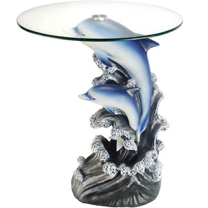 Glass Top Dolphin Sculpture End Table