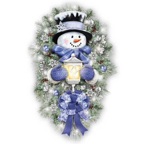 Thomas Kinkade A Warm Winter Welcome Holiday Snowman Wreath Lights Up