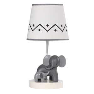 Lambs & Ivy Me & Mama White & Gray Elephant Nursery Lamp