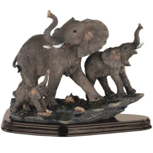 Family of Wild Elephant Animals Figurine Statue Sculpture