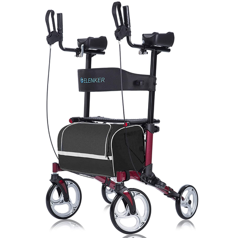 "ELENKER Upright Walker Stand Up Folding Rollator Walker with 10"" Front Wheels"