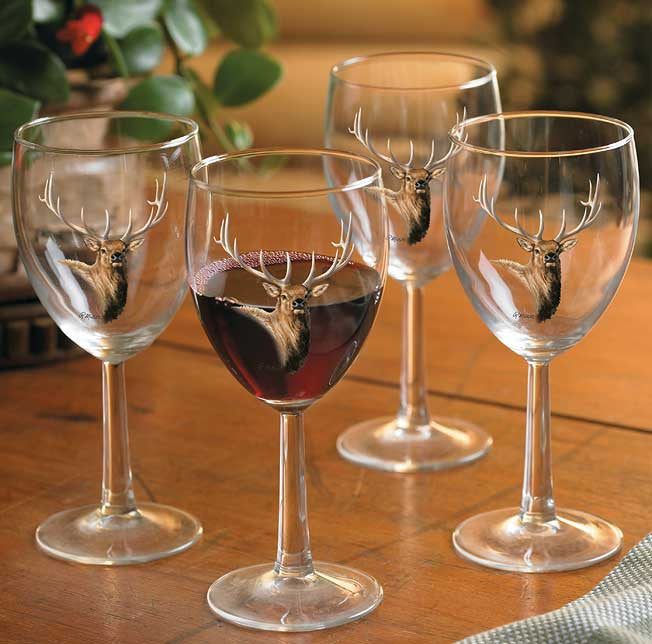 Home Decor | Elk Bust 10 oz Wine Glasses by Rosemary Millette