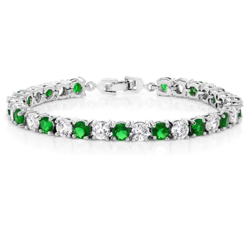 Jewelry | Sparkling Emerald Zirconia CZ Women's Tennis Bracelet May Birthstone