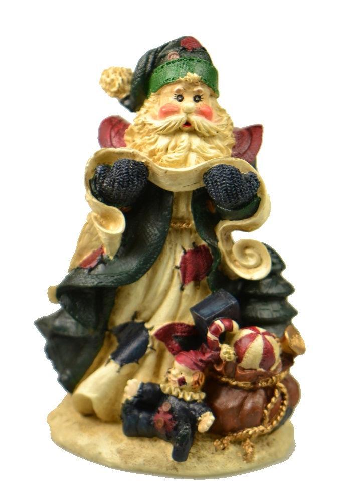 Holiday | Christmas Santa Claus in Green Coat Figurine
