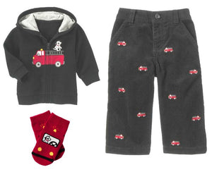 Baby Clothes | Gymboree Fire Truck Set: Hoodie, Pants, Socks For 6-12 Months