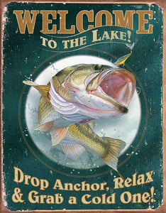 Tin Sign | Bass Fish Metal Tin Sign Welcome to the Lake