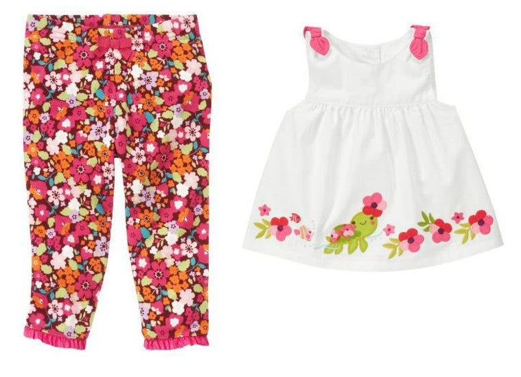 Baby Clothes | Gymboree Baby Girl Floral Pant and Turtle Top Set 0-3 Months