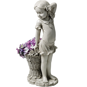Frances The Flower Girl Outdoor Garden Statue with Planter
