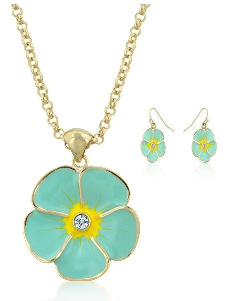 Jewelry | Blue Floral Necklace and Earrings Set