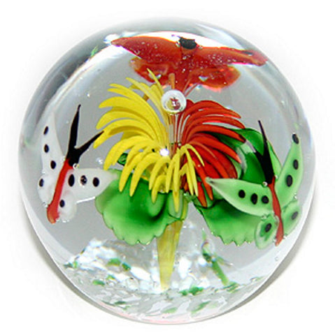 Glass Paperweight Flower and Butterflies #21