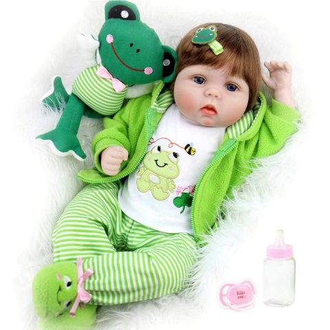Baby Doll 22 Inch Realistic Lifelike Baby Doll Weighted Reborn Baby with Frog