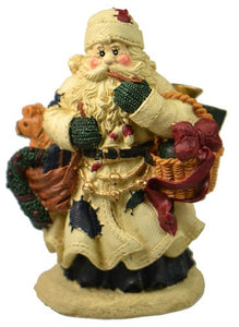 Holiday | Christmas White Coat Santa Claus with Basket and Toys Figurine