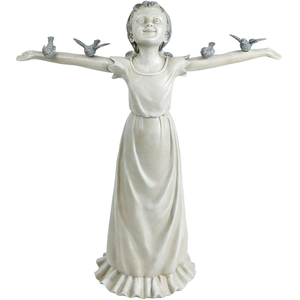 Basking in God's Glory Little Girl Outdoor Garden Statue