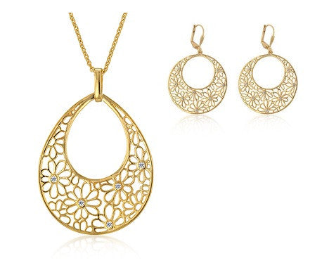 Jewelry| Floral Necklace and Earrings Set 14K Gold