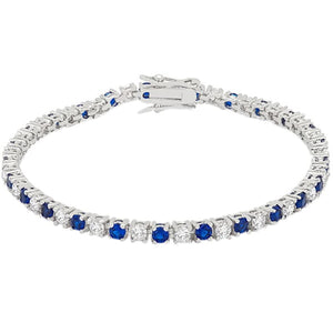 Jewelry | Fashion Style Sapphire Blue Cubic Zirconia Silvertone Finish Tennis Bracelet