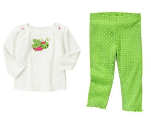 Baby Clothes | Gymboree Grasshopper Set Baby Girl 100% Cotton
