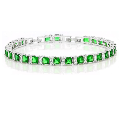 Jewelry | Princess Cut Green Cubic Zirconia CZ Women Tennis Bracelet 7 Inch + 1 Inch Extender