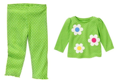 Baby Clothes | Gymboree Baby Girl Green Polka Dot Pants and Flower Dot Tee