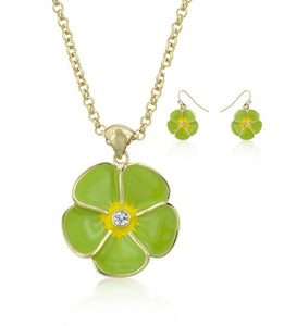 Jewelry | Green Floral Necklace and Earrings Set