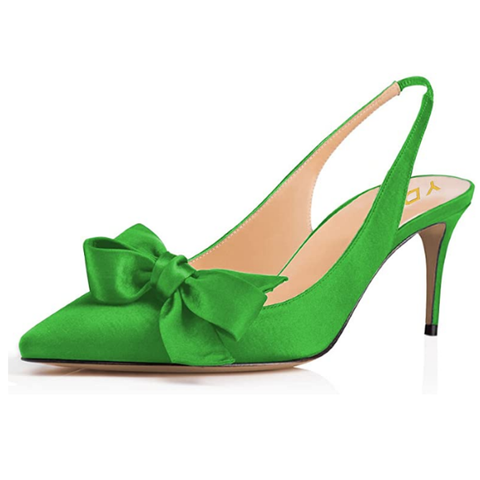Sexy Shoes | Green Pointed Toe Slingback Slip on Dress Pumps Stiletto Mid Heels