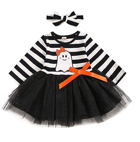 Baby Clothes | Toddler Halloween Dress with Ghost
