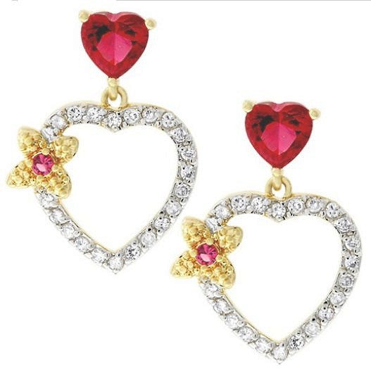 Jewelry | Two-tone Pinkish-Red Heart Cubic Zirconia Drop Earrings