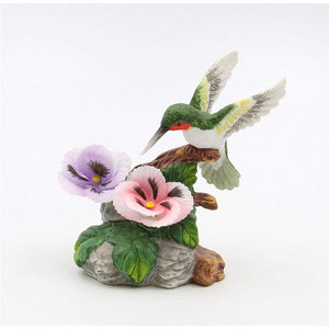 "Fine Porcelain Hummingbird with Pansy Flowers Figurine, 4-1/2"" H"