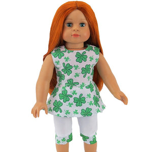 "Doll Clothes | Irish Four Leaf Clover St. Patrick's Day Pant Set Fits 18"" American Girl Dolls"
