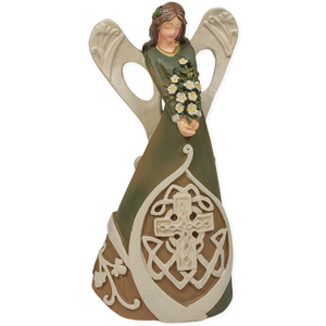 Woodcut Look Celtic Knot Cross Irish Angel Figurine, 7 Inches