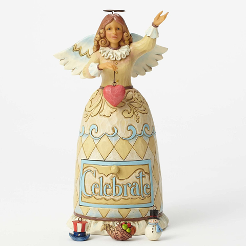 Figurines |  Jim Shore Heartwood Creek Holiday Celebration Angel Figurine
