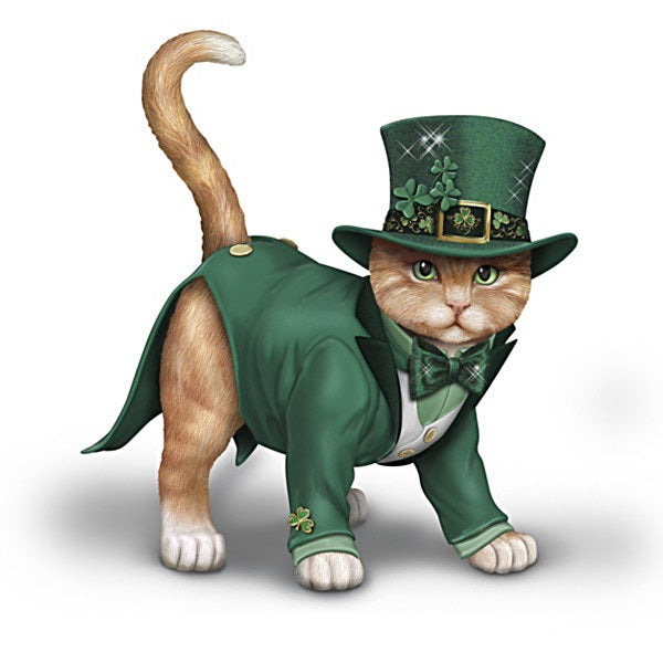 Feline Cat Lucky Irish Figurine