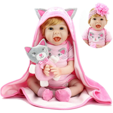 Baby Doll 22 Inch Realistic Lifelike Baby Doll Weighted Reborn Baby Girl with Kitten