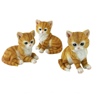 Cat Statue Tabby Kitten Triplets, Baby Cat Figurine