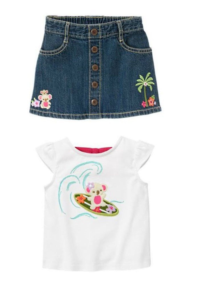 Baby Clothes | Gymboree Surfing Koala Denim Skirt and Tee 3 - 6 Months