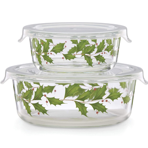 Lenox Holiday Glass Storage Bowls, Set of 2