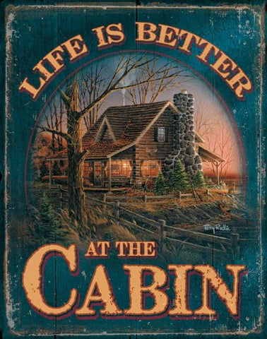 Tin Sign | Life Is Better At The Cabin Metal Tin Sign