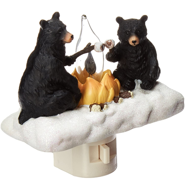 Home Decor | Night Light, Features 2 Bears Roasting Marsh Mellows Around a Camp Fire