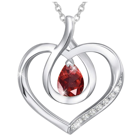 January Birthstone | Garnet Heart Necklace