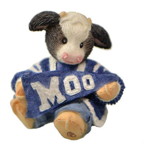 Figurines | Mary's Moo Moos Cheerleader Cow Blue and White School Colors