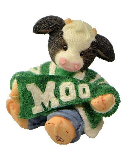 Figurines | Mary's Moo Moos Cheerleader Cow Green & White School Colors