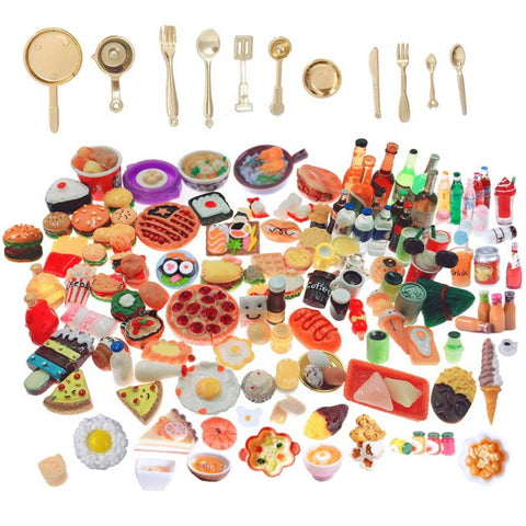 Miniature Food Drinks Toys 110pcs Mixed Resin Decoration Tableware Doll house