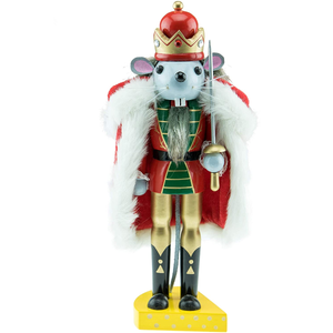 Traditional Mouse King Wooden Nutcracker Festive Christmas Decor