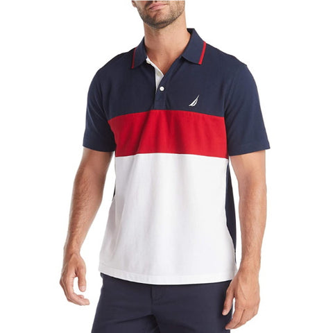 Golf Clothes | Nautica Men's Short Sleeve 100% Cotton Pique Color Block Polo Shirt
