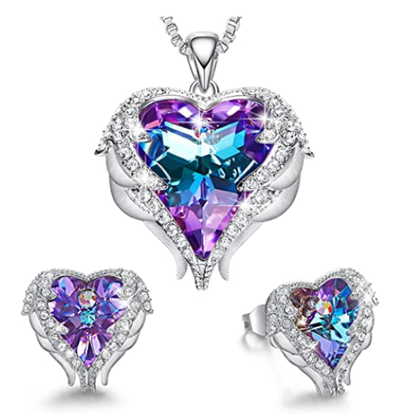 Jewelry Angel Wing Love Heart Necklaces and Earrings Purple Austrian Crystals