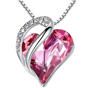 October Birthstone Jewelry Love Heart Pendant Necklace