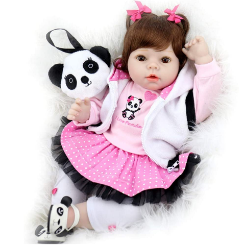 Doll 22 Inch Lifelike Handmade Soft Body Doll Weighted with Panda Gift Set