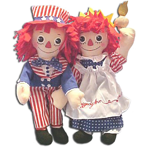 Raggedy Ann Statue of Liberty & Raggedy Andy Uncle Sam Dolls