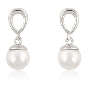Jewelry | White Pearl Dangle Fashion  Sterling Silver Earrings.