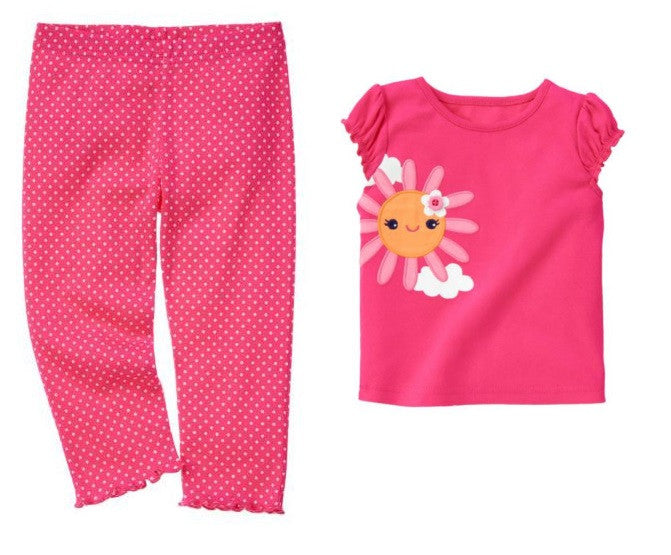 Baby Clothes | Gymboree Baby Girl Pink Polka Dot Legging Pants and Sunflower Tee 3-6 Months
