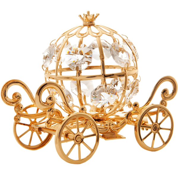Gold Plated Crystal Studded Small Cinderella Pumpkin Coach Figurine Ornament